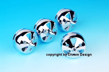 """Air-out balls 4D """" Airforce"""" without air regulation (inner part) (chrome) 4 pcs."""